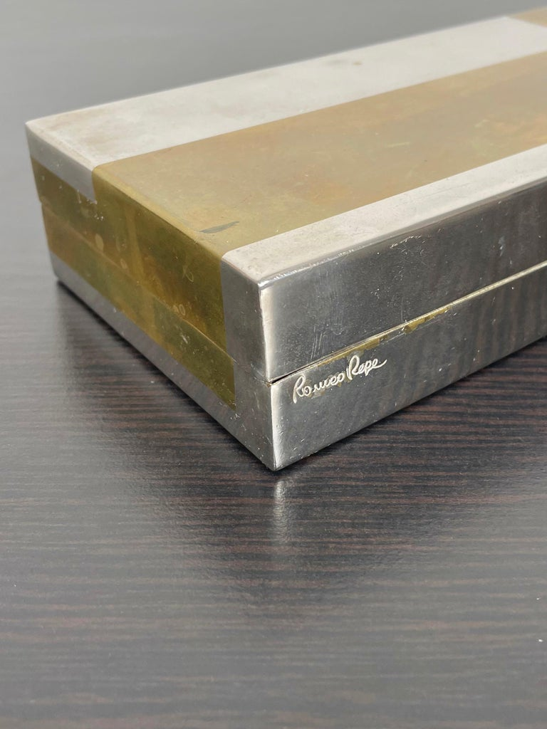 Romeo Rega Rectangular Box in Brass and Chrome, Italy, 1970s For Sale 3