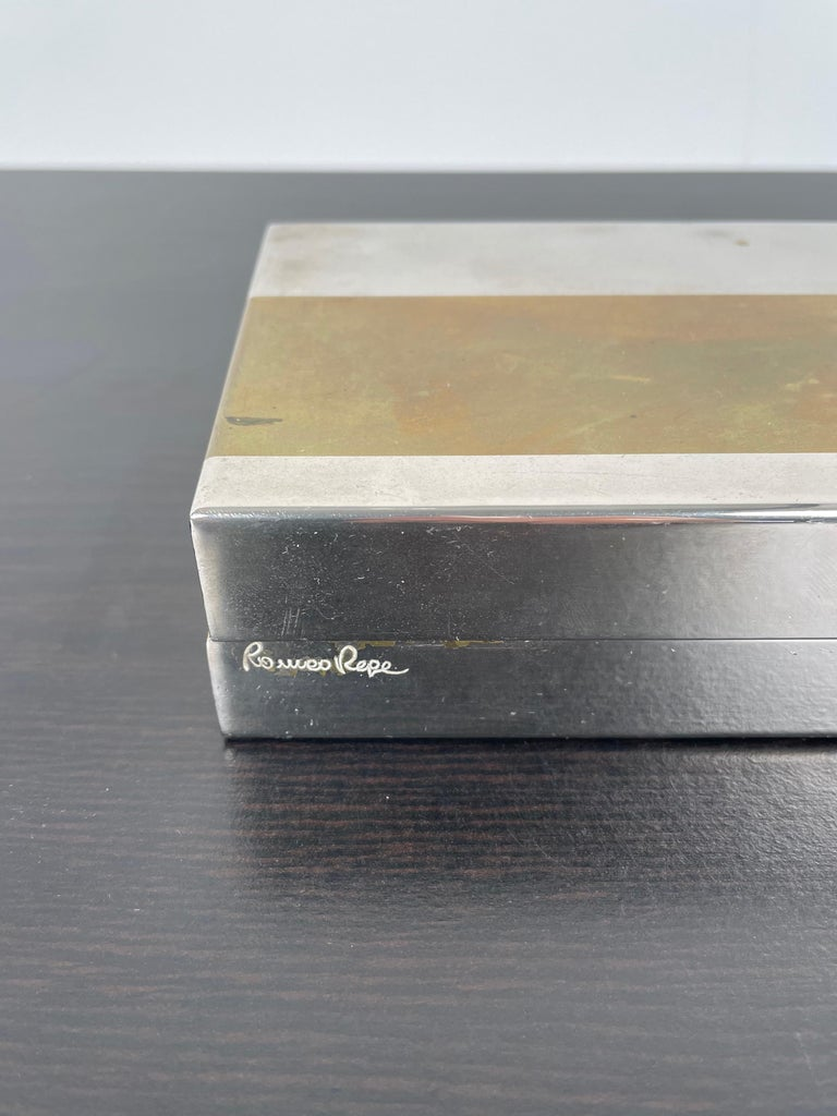 Romeo Rega Rectangular Box in Brass and Chrome, Italy, 1970s For Sale 4