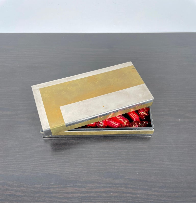 Romeo Rega Rectangular Box in Brass and Chrome, Italy, 1970s For Sale 5