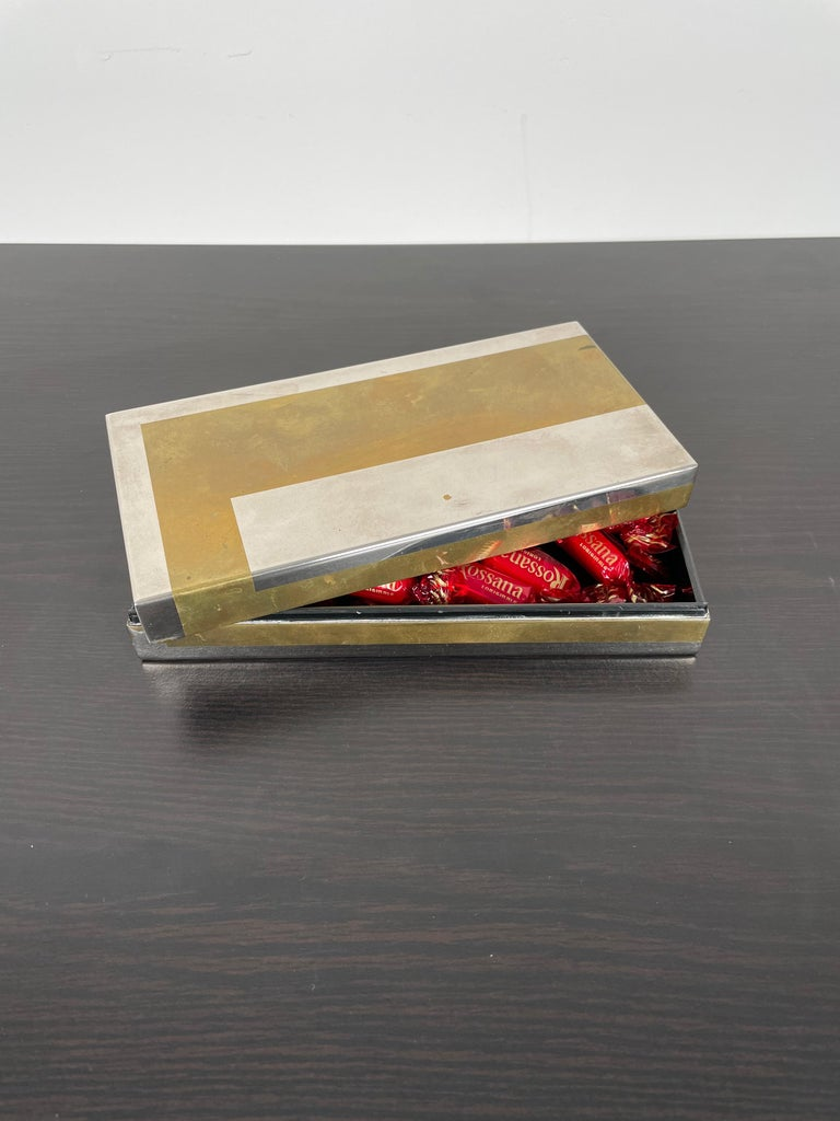 Romeo Rega Rectangular Box in Brass and Chrome, Italy, 1970s In Good Condition For Sale In Rome, IT