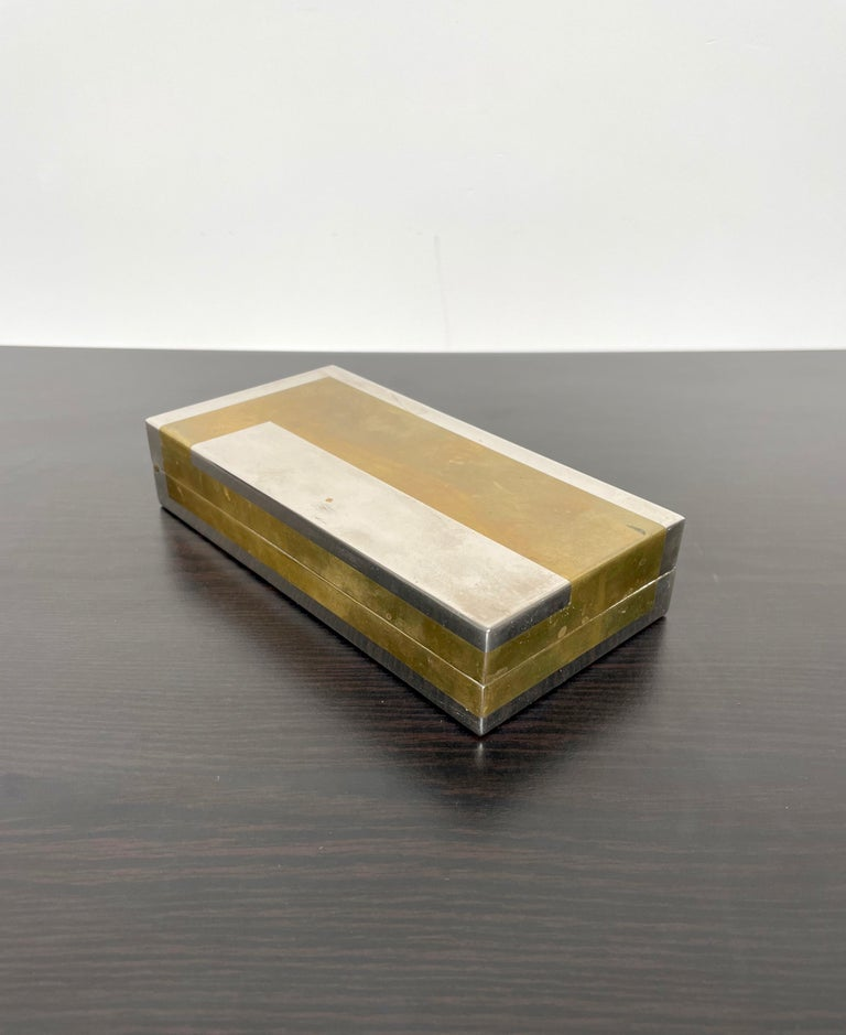 Romeo Rega Rectangular Box in Brass and Chrome, Italy, 1970s For Sale 1