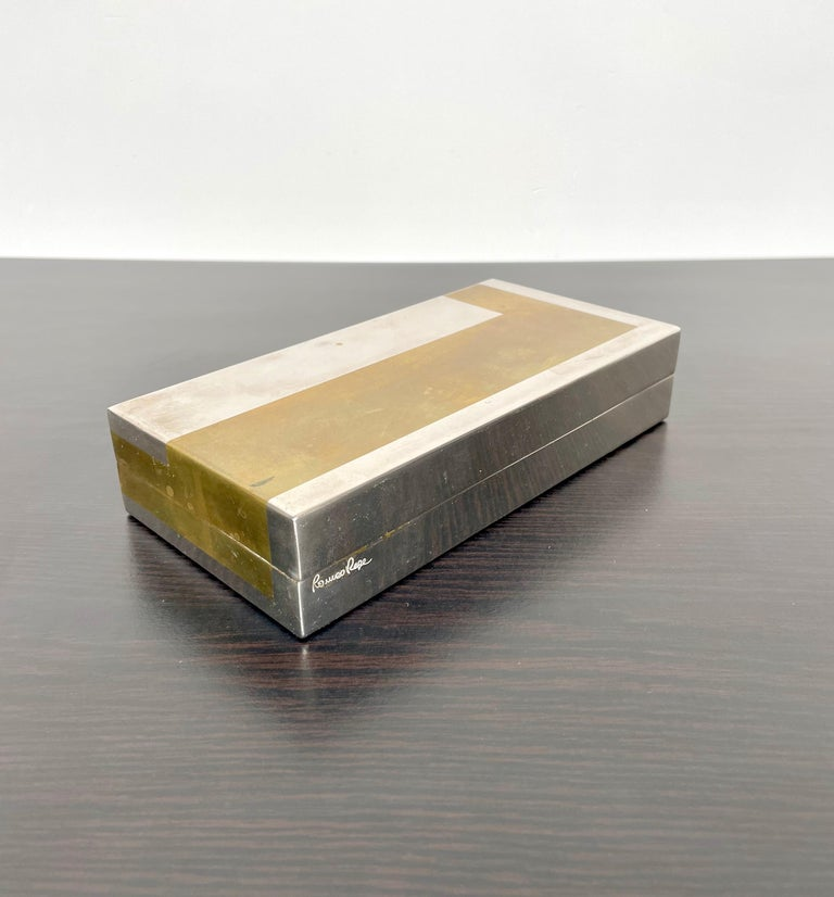 Romeo Rega Rectangular Box in Brass and Chrome, Italy, 1970s For Sale 2