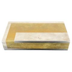 Romeo Rega Rectangular Box in Brass and Chrome, Italy, 1970s