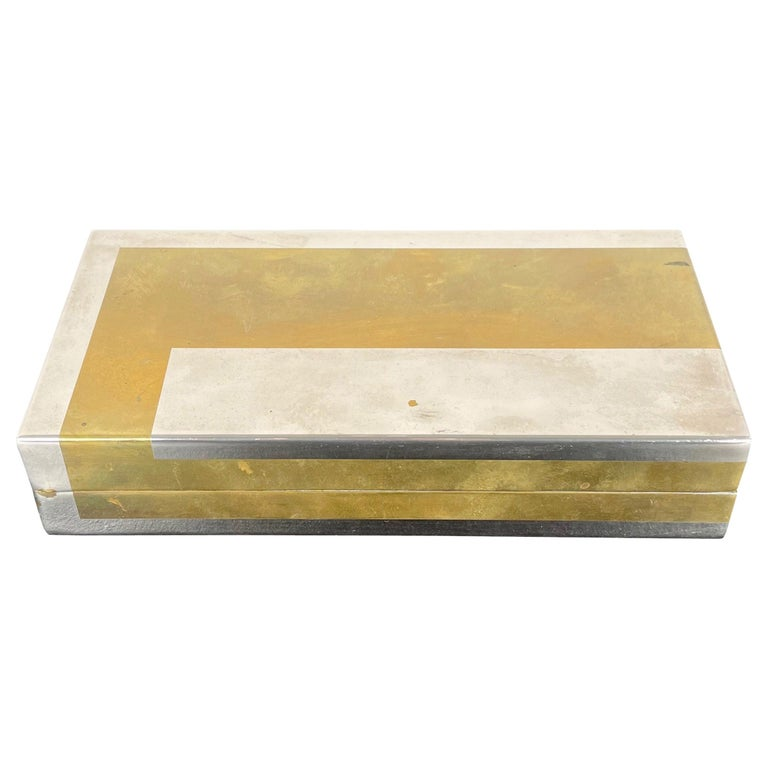 Romeo Rega Rectangular Box in Brass and Chrome, Italy, 1970s For Sale