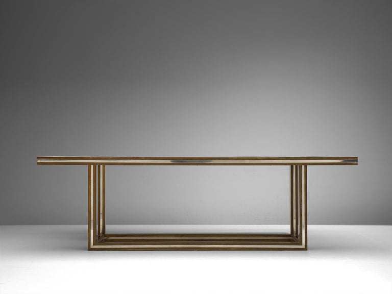 Italian Romeo Rega Rectangular Table in Metal and Glass For Sale