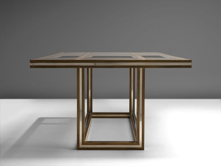 Romeo Rega Rectangular Table in Metal and Glass For Sale 1