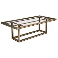 Romeo Rega Rectangular Table in Metal and Glass
