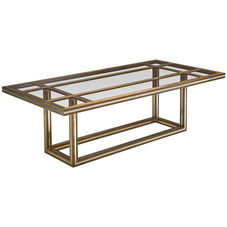 Romeo Rega Rectangular Table in Metal and Glass For Sale