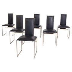 Romeo Rega Set of Six Dining Chair in Black Leather and Steel
