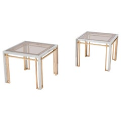Romeo Rega Side Tables in Chrome, Brass and Glass