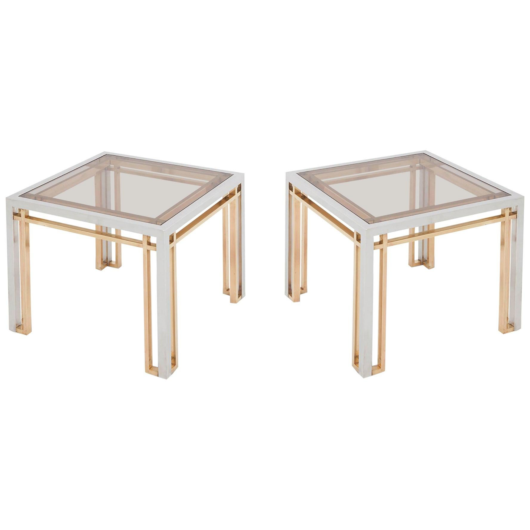 Romeo Rega Side Tables in Chrome, Brass and Glass, Set of 2