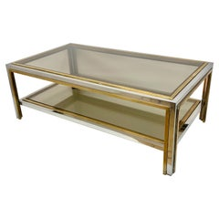 Romeo Rega Small Table in Brass and Chrome, Two Levels, Smoked Glass Italy, 1970