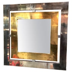 Romeo Rega Square Wall Mirror in Brass and Steel, Italy, 1970s
