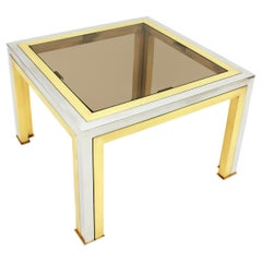 Romeo Rega Squared Table in Brass, Metal and Glass
