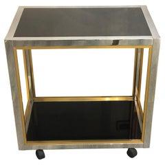Romeo Rega Style Brass and Chromed Steel Two Black Crystal Shelves Wheeled Tray
