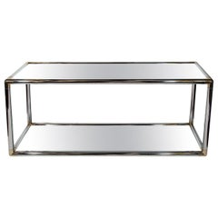 Romeo Rega Style Chrome and Mirrored Double Console Table, 1970s