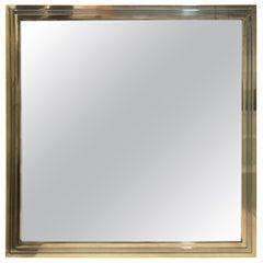 Romeo Rega Style Italian Mirror with Chrome and Brass Frame, 1970s