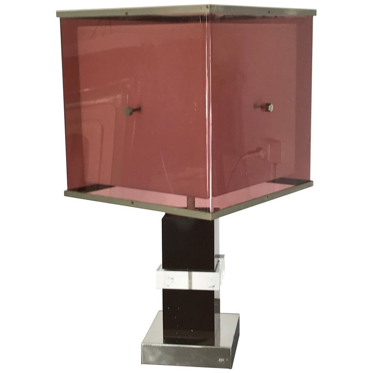 Romeo Rega midcentury purple and black Lucite Italian table lamp, 1965 For Sale