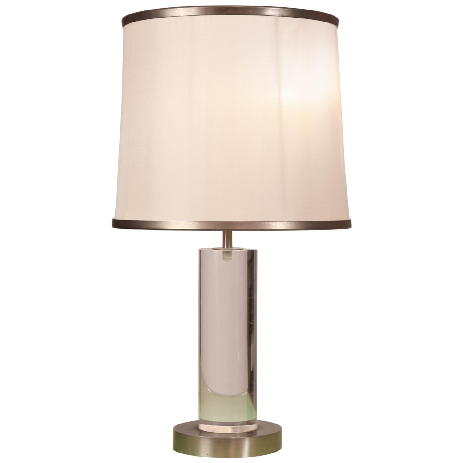 Romeo Rega Table Lamp in Lucite and Nickel
