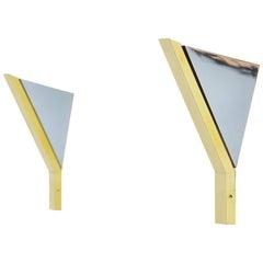 Romeo Rega Wall Lamp Chrome and Brass, Italy, 1970
