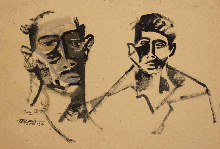 Dos Rostros, Gouache on Paper, Modern Art, Mexico