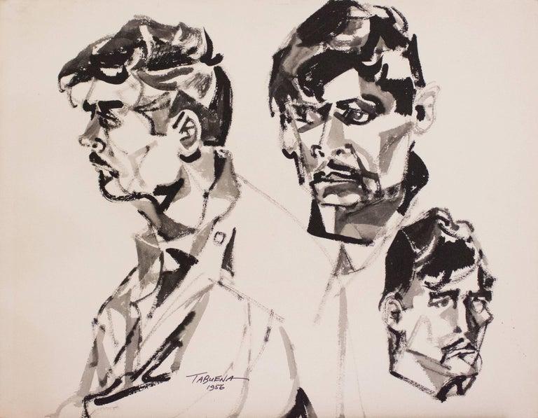 Estudio Rostro Perfil, Gouache on Paper, Modern Art, Mexico