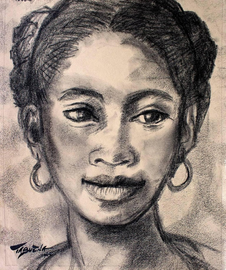 Mujer con Arracadas, Modern Art, Charcoal on Paper, Mexico