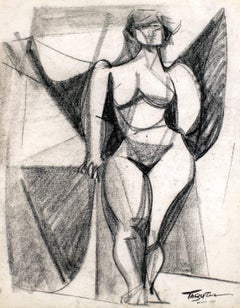 Nude, Charcoal on Paper, Modern Art, Mexico.