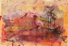 Volcano, Modern art, Watercolor on Paper, Mexico 1958