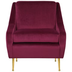 Romero Armchair in Red Velvet