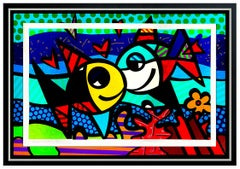 Romero Britto Deeply In Love Large 3D Mixed Media Construction Hand Signed Fish