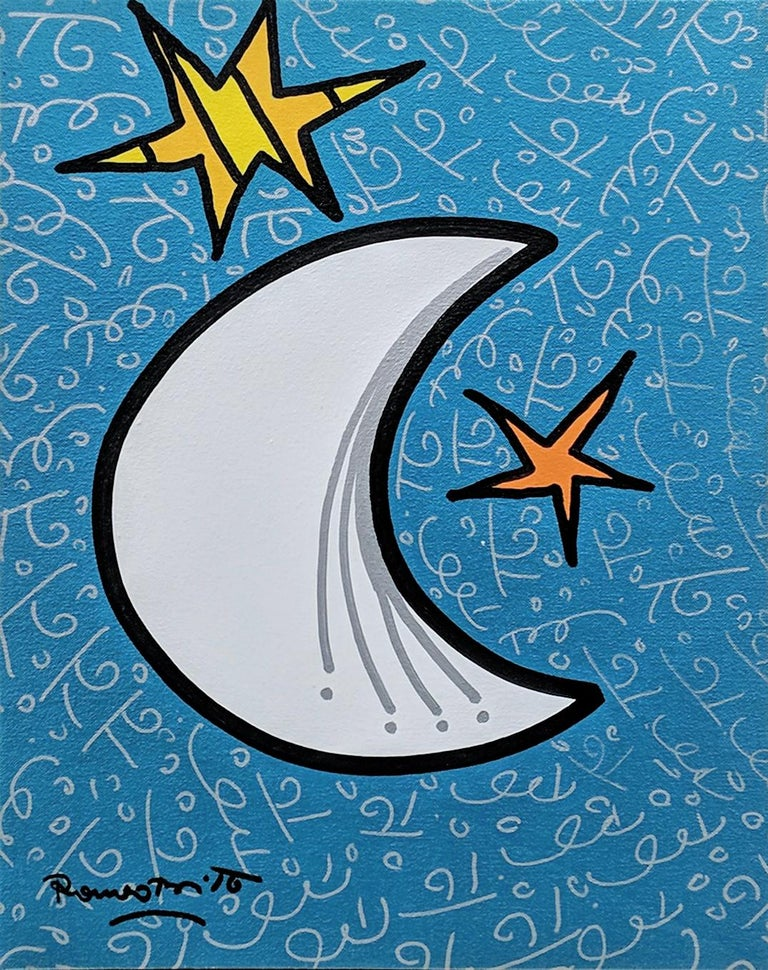 OVER THE MOON - Painting by Romero Britto