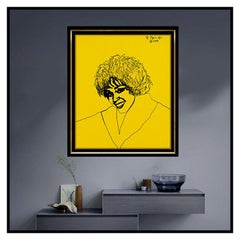 Romero Britto Large Original Acrylic Painting On Canvas Whitney Houston Signed