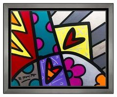 Romero Britto Original Acrylic Painting On Board Signed Pop Art Framed Heart SBO