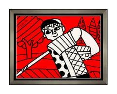 Romero Britto Original Acrylic Painting On Canvas Signed Golf Sports Artwork SBO