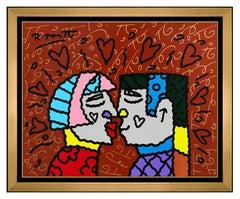 Romero Britto Original Painting Acrylic On Board Signed Pop Art Modern Portrait