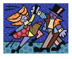 1999 Romero Britto 'Dancing Couple' Contemporary Multicolor France Serigraph