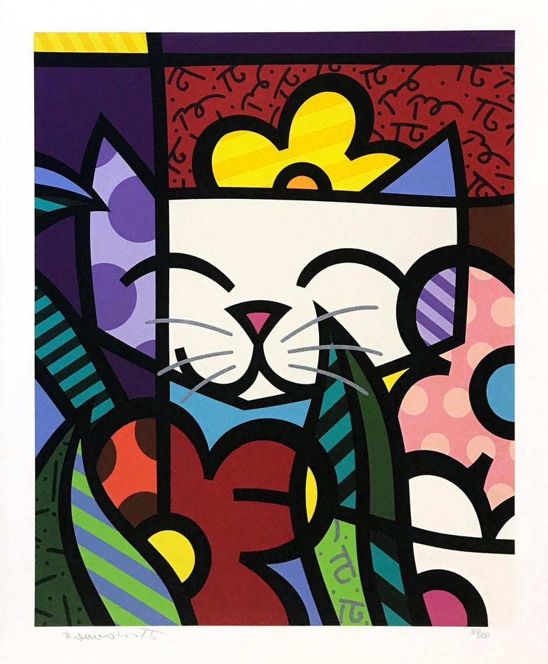 BEHIND THE FLOWERS - Print by Romero Britto