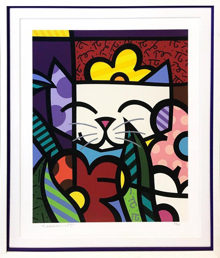 Romero Britto Animal Print - BEHIND THE FLOWERS