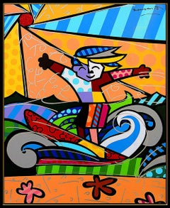 Romero Britto Large Giclee On Canvas Surfer Boy Signed Painting