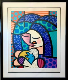 """Romero Britto, """"Mother and Child"""", large silk screen on paper"""