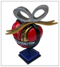 Romero Britto Original Painting Wood Sculpture My Gift Heart Signed Modern Art
