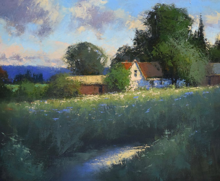 """Romona Youngquist, Landscape Painting - """"Farm and Creek"""""""