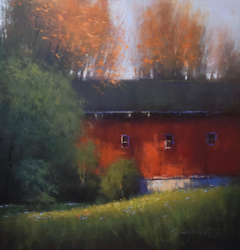 """Romona Youngquist, Landscape Painting - """"Red Barn in Autumn"""""""