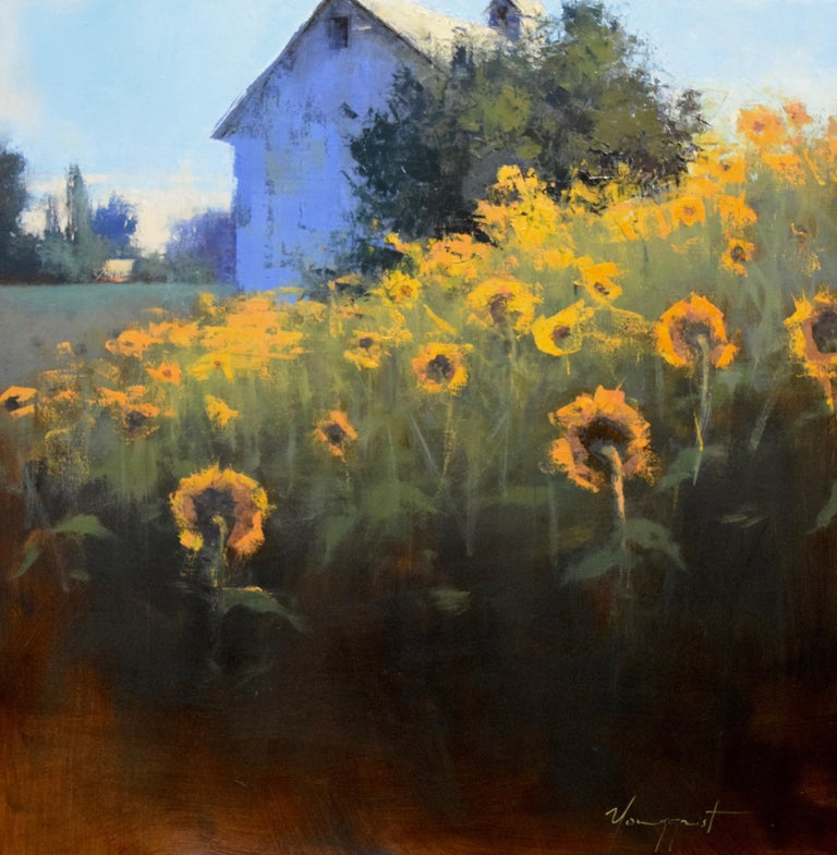 "Romona Youngquist, Landscape Painting - ""Sunflowers Facing East"""