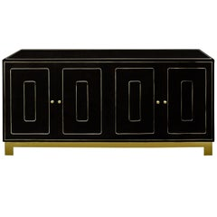 Romweber Black Lacquered and Brass Credenza
