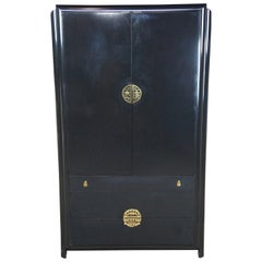 Romweber Black Lacquered Midcentury Asian Chinoiserie Armoire Modern Wardrobe