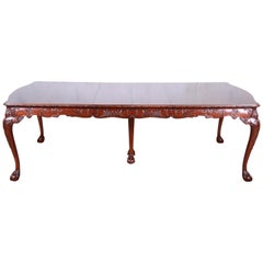 Romweber Chippendale Ornate Carved Mahogany Extension Dining Table, circa 1920s