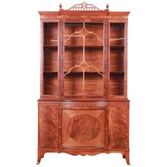 Romweber Flame Mahogany Breakfront Display Cabinet or Bookcase, circa 1940s