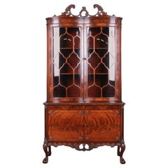 Romweber Flame Mahogany Chippendale Curved Glass Cabinet or Bookcase, 1930s